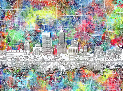 Abstract Skyline Royalty-Free and Rights-Managed Images - Indianapolis Skyline Watercolor 8 by Bekim M