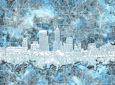 Abstract Skyline Royalty-Free and Rights-Managed Images - Indianapolis Skyline Watercolor 9 by Bekim M