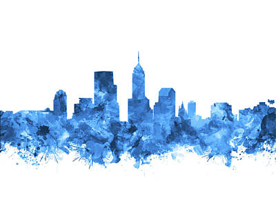 Abstract Skyline Royalty-Free and Rights-Managed Images - Indianapolis Skyline Watercolor Blue by Bekim M