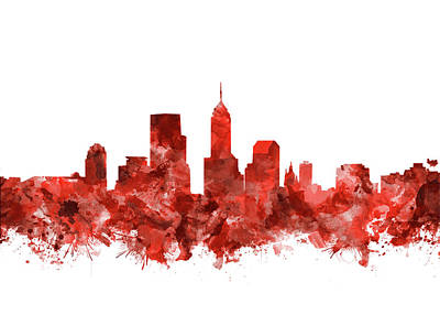 Abstract Skyline Royalty-Free and Rights-Managed Images - Indianapolis Skyline Watercolor Red by Bekim M