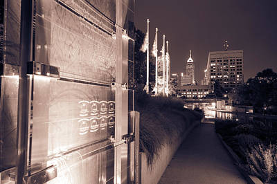 Photograph - Indianapolis Veterans Memorial And Skyline In Sepia by Gregory Ballos