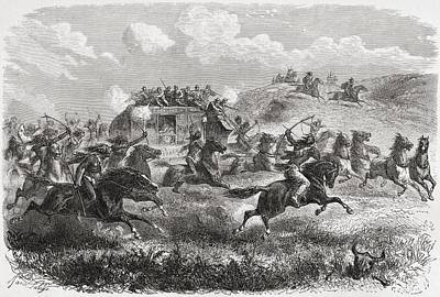Native Drawing - Indians Attacking A Transcontinental by Vintage Design Pics