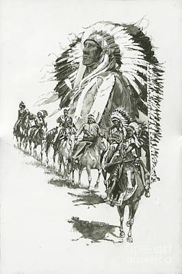 Indians-chief Horseback Riders Original by Don  Langeneckert