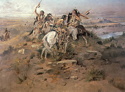 Territories Painting - Indians Discovering Lewis And Clark by Charles Marion Russell