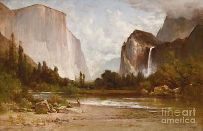 Yosemite Painting - Indians Fishing In Yosemite by MotionAge Designs