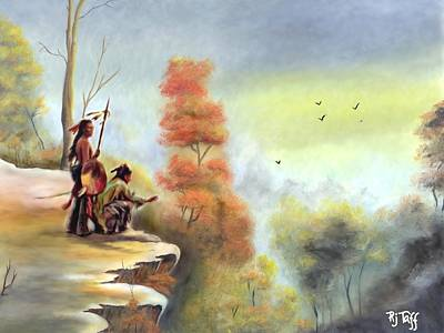Indians On The Bluff Art Print