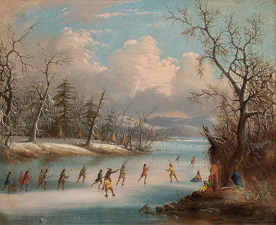 Lacrosse Painting - Indians Playing Lacrosse On Ice by Mountain Dreams