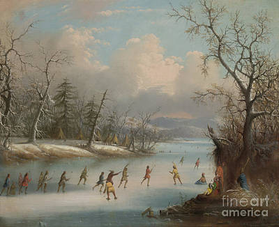 Winter Fun Painting - Indians Playing Lacrosse On The Ice, 1859 by Edmund C Coates