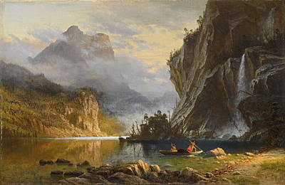 Manifest Destiny Painting - Indians Spear Fishing, 1862 by Albert Bierstadt