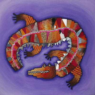 Painting - Indigenous Crocodile  by Claire Johnson