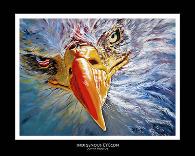 Painting - Indigenous Eyecon - Bald Eagle On Black by Donna Proctor