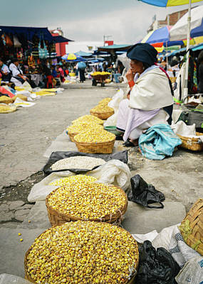 Photograph - Indigeous Lady In Otavalo Market, Ecuador by Alexandre Rotenberg