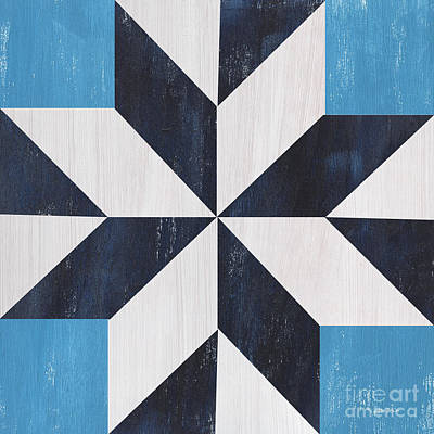 Block Quilts Painting - Indigo And Blue Quilt by Debbie DeWitt