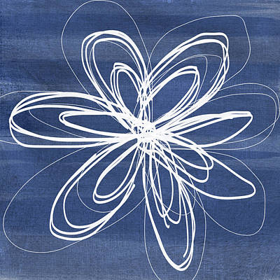 Daisy Mixed Media - Indigo And White Flower- Art By Linda Woods by Linda Woods