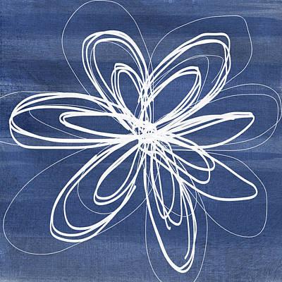 Indigo And White Flower- Art By Linda Woods Art Print