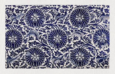 Mixed Media - Indigo And White Vintage Asian Floral Pattern Wall Art Prints by Wall Art Prints