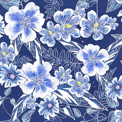 Digital Art - Indigo Batik Camellia Fern - 12 by Karen Dyson