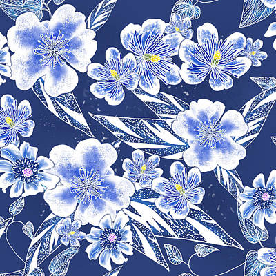 Indigo Batik Tile 2 - Ginger Leaves Art Print