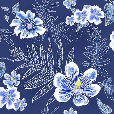Indigo Batik Tile 3 - Laua'e Art Print