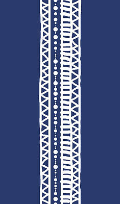 Digital Art - Indigo Batik Tribal Stripe by Karen Dyson