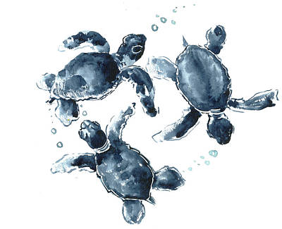 Baby Sea Turtle Painting - Indigo Blue Sea Turtle by Suren Nersisyan