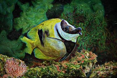 Water Play Painting - Indigo Fish by Deborah Benoit