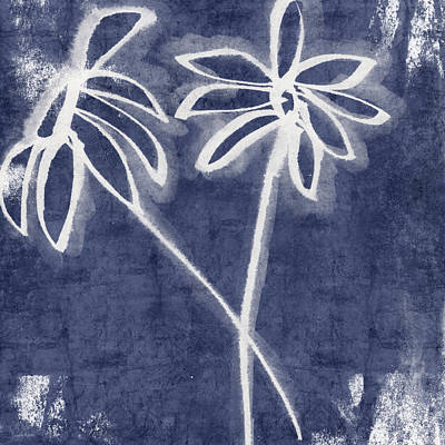 Daisy Mixed Media - Indigo Floral 2- Art By Linda Woods by Linda Woods