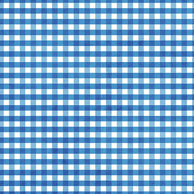 Digital Art - Indigo Gingham- Design By Linda Woods by Linda Woods