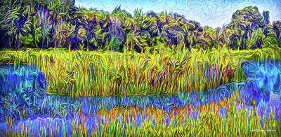 Digital Art - Indigo Lake Reflections by Joel Bruce Wallach
