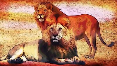 Digital Art - Indigo Lions by Gayle Price Thomas