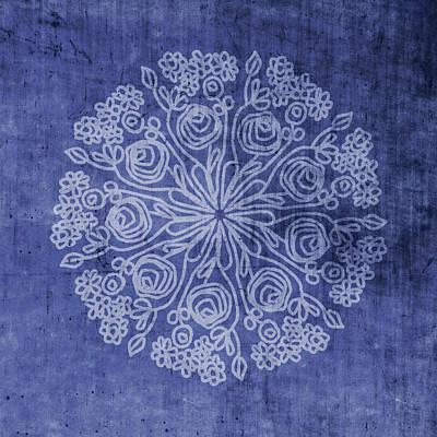 Indigo Mandala 2- Art By Linda Woods Art Print