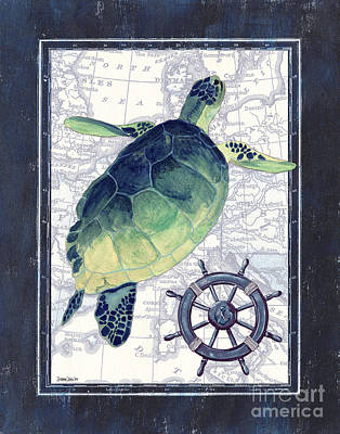 Green Sea Turtle Painting - Indigo Maritime 1 by Debbie DeWitt