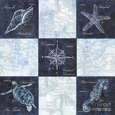 Ocean Turtle Mixed Media - Indigo Nautical Collage by Debbie DeWitt
