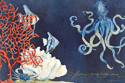 Navy Painting - Indigo Ocean - Floating Octopus by Audrey Jeanne Roberts