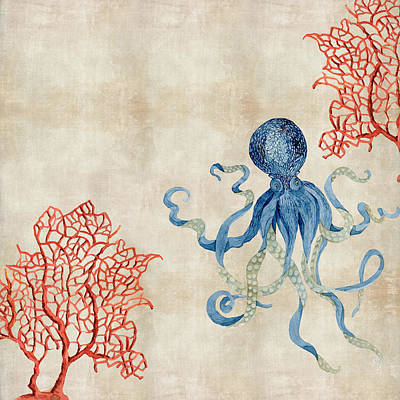 Navy Painting - Indigo Ocean - Octopus Floating Amid Red Fan Coral by Audrey Jeanne Roberts