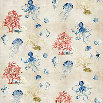 Beach Vacation Painting - Indigo Ocean - Red Coral Octopus Half Drop Pattern by Audrey Jeanne Roberts