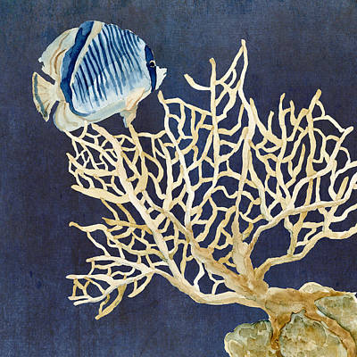 Fan Art Painting - Indigo Ocean - Tan Fan Coral N Angelfish by Audrey Jeanne Roberts