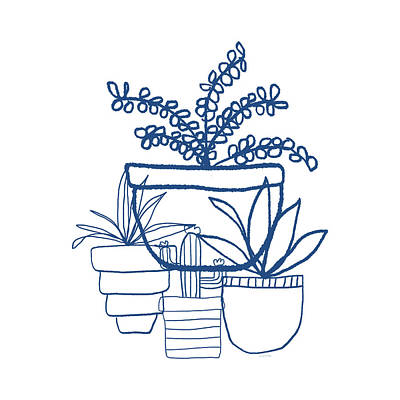 Indigo Potted Succulents- Art By Linda Woods Art Print