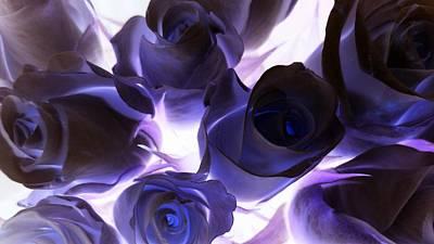 Purple Flowers Digital Art - Indigo Roses by Sharon Lisa Clarke