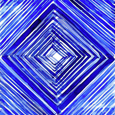 Digital Art - Indigo Textile 10 by Kimberly Potts
