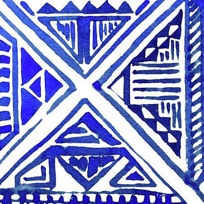 Digital Art - Indigo Textile 9 by Kimberly Potts