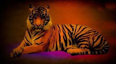 Digital Art - Indigo Tiger by Gayle Price Thomas