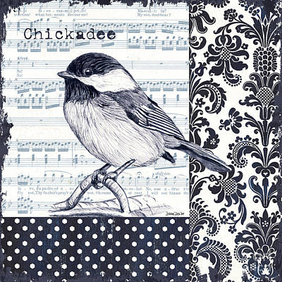 Leaves Painting - Indigo Vintage Songbird 2 by Debbie DeWitt