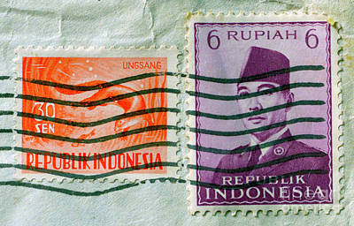 Photograph - Indonesian Postage Stamps by Paul W Faust - Impressions of Light