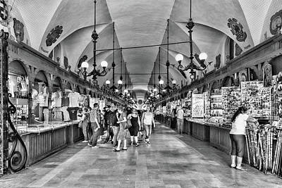 Photograph - Indoor Market Krakow Black And White by Sharon Popek