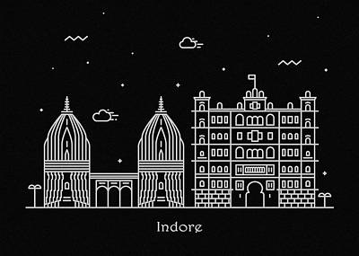 Abstract Landscape Drawing - Indore Skyline Travel Poster by Inspirowl Design