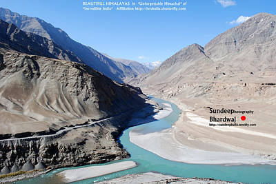 Painting - Indus River Sangam Or Meeting Point In Himalayas Of Incredible India by Sundeep Bhardwaj Kullu sundeepkulluDOTcom