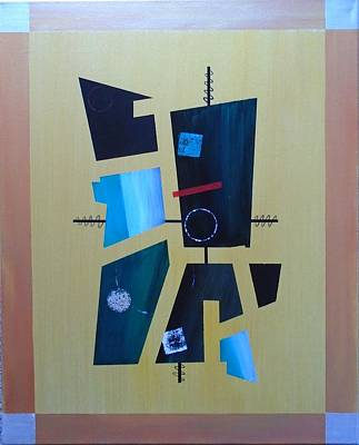 Painting - Industrial Abstractica Gold 1 by John Lyes