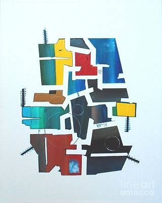 Painting - Industrial Abstractica White 2 by John Lyes
