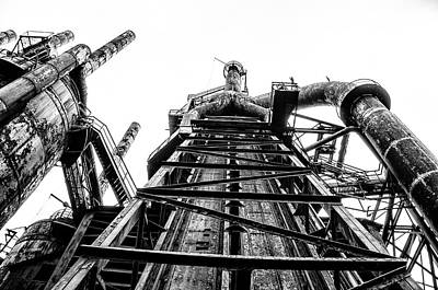 Industrial Age - Bethlehem Steel In Black And White Art Print by Bill Cannon